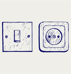 Single light switch and socket vector