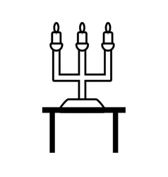 pictogram chandelier candles decorative on table vector image