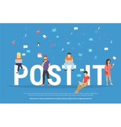 Post it concept of young people using vector
