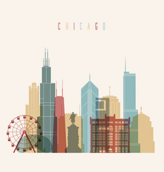 Chicago city skyline detailed silhouette vector