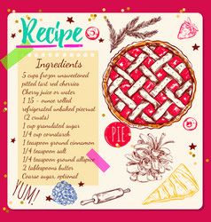Sketchbook style recipe vector
