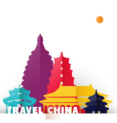 Travel china paper cut world monuments vector