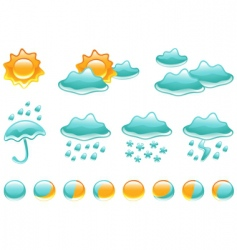 weather symbols and moon phases vector image