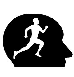 Silhouettes athlete running in my head the vector