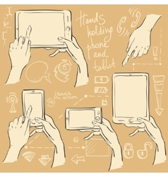 Hands holding smartphone and tablet vector