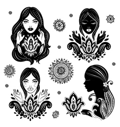 Set of beautiful girls in meditation with a vector
