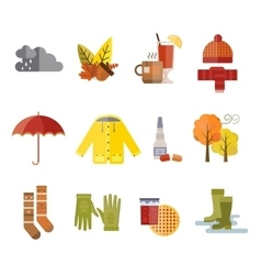Collection of autumn clothes items vector