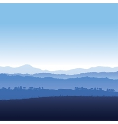 Landscape of mountains in fog vector