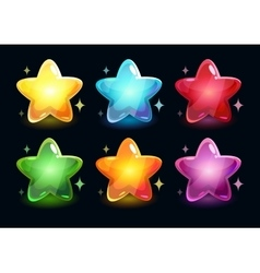 Cartoon colorful glossy stars vector