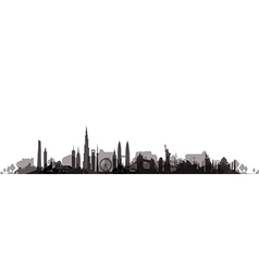 Cityscape with trees black vector
