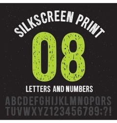 Silkscreen print style letters and numbers vector