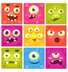 Monster Faces Set vector image