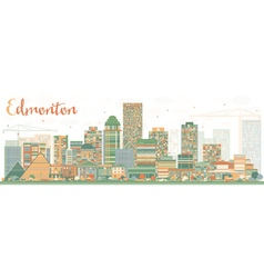 Abstract edmonton skyline with color buildings vector