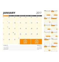 Calendar Planner for 2017 Year Design Template vector image
