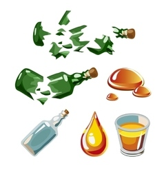Broken bottle drop alcohol glass isolated vector