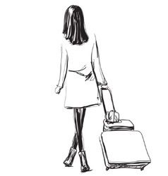 Art sketching beautiful young travel woman vector image