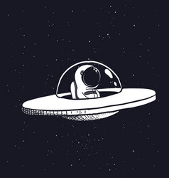 Astronaut in a flying saucer vector