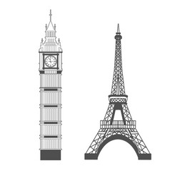 big ben and eiffel tower vector image vector image