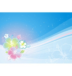 Bouquet of hibiscus on blue background vector