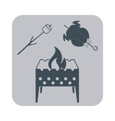 Brazier zephyr and chicken icon on gray background vector