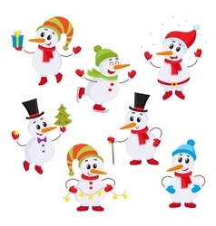 Christmas set of cute and funny little snowmen vector