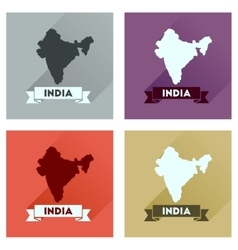 Concept flat icons with long shadow india map vector