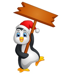 cute penguin holding blank sign vector image