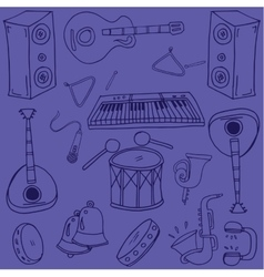 Doodle of music on purple backgrounds vector image