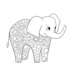 elephant coloring for adults animal vector image vector image