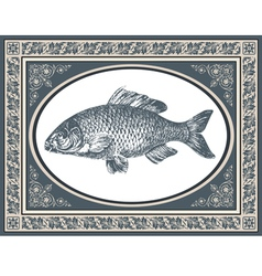 fish antique vector image