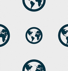 Globe icon sign seamless pattern with geometric vector