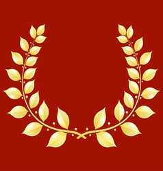 Gold laurel wreath on a red background vector image