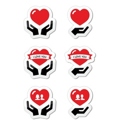 Hands with red heart love relationship icons set vector image