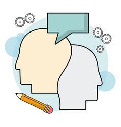 Human heads profile bubble speak pencil vector