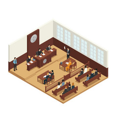 Law justice isometric composition icon vector