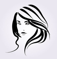 Line sketch of a woman face vector image