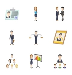Management icons set cartoon style vector image vector image