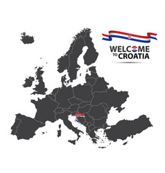 Map of europe with the state of croatia vector