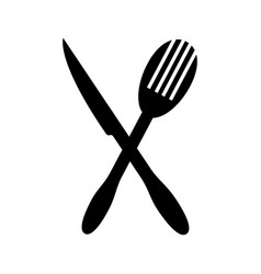 monochrome silhouette with knife and fry fork vector image