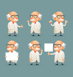 Old scientist character icons set retro cartoon vector