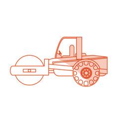 Orange silhouette shading cartoon road roller vector