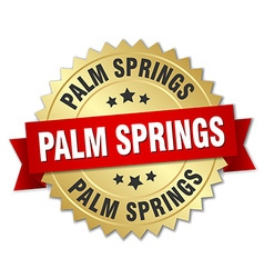 Palm springs round golden badge with red ribbon vector