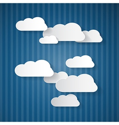 Paper Clouds on Blue Cardboard Sky vector image vector image