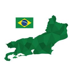 Rio de janeiro map and flag icon vector