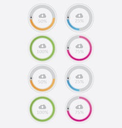 Round Cloud upload and download buttons vector image vector image