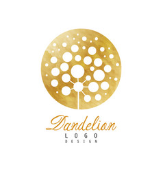 Rounded logo design of dandelion plant abstract vector