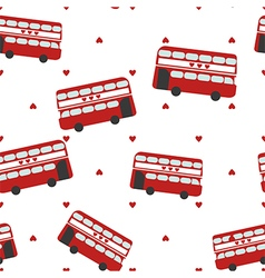 Seamless pattern with red bus for sightseeing vector