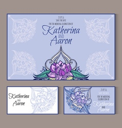 Set of invitation wedding cards with place for vector image