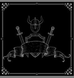 warrior accessories shield swords helmet with vector image