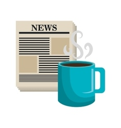 cartoon news cup coffee isolated vector image